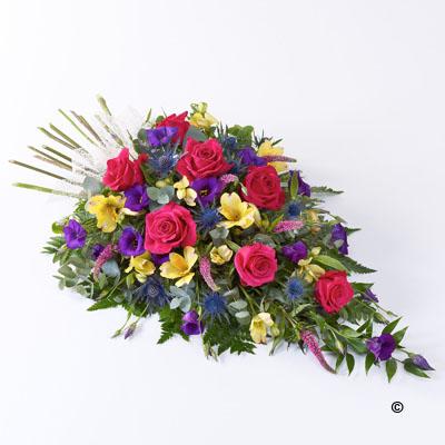 f0052e63d73086 Spray Woodland Vibrant Funeral Flowers