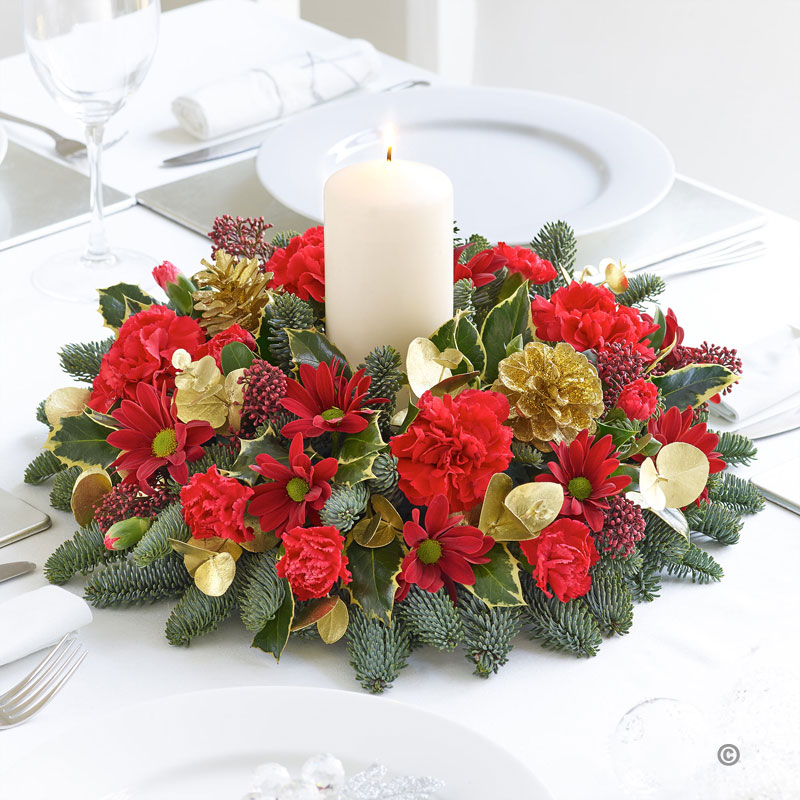 Christmas Table Arrangements Flowers.Christmas Round Table Arrangement